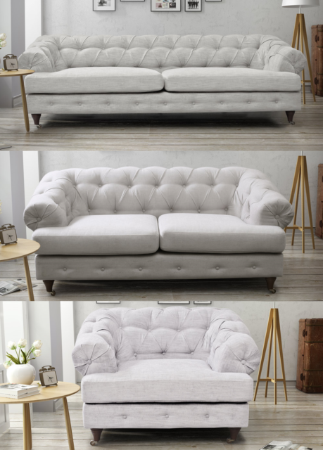 Pleasant Chesterfield Light Grey Sofa 3 2 Seater Sofa Armchair Fabric White Linen Short Links Chair Design For Home Short Linksinfo