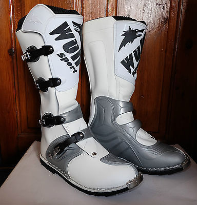 MOTORBIKE WULFSPORT ADULT RACE TRIAL BOOTS Motorcycle MX Enduro Sports Armour Boots Black