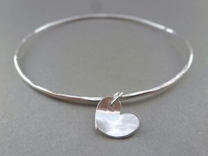Image is loading Silver-Heart-Charm-Bangle-Sterling-Silver-Solid-Flat- 616e10fd7