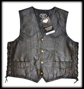 Biker S M L XL XXL country Gilet en cuir sans manche Femme Roses Brodées
