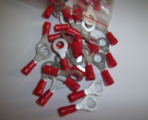 "25 1//4/"" Red 22-18 Ga AWG Gauge Car Power Wire Ring Terminals Connectors Crimp"
