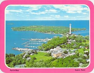 OH-Cedar-Point-Aerial-View-PUT-IN-BAY-5-25x6-75-Amusement-Park-postcard
