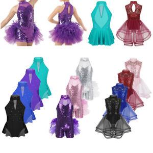 Girls-Modern-Jazz-Latin-Dance-Dress-Ballet-Leotard-Tutu-Skirt-Dancewear-Costumes
