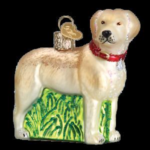 Old-World-Christmas-STANDING-YELLOW-LAB-dog-12496-N-Glass-Ornament-w-OWC-Box