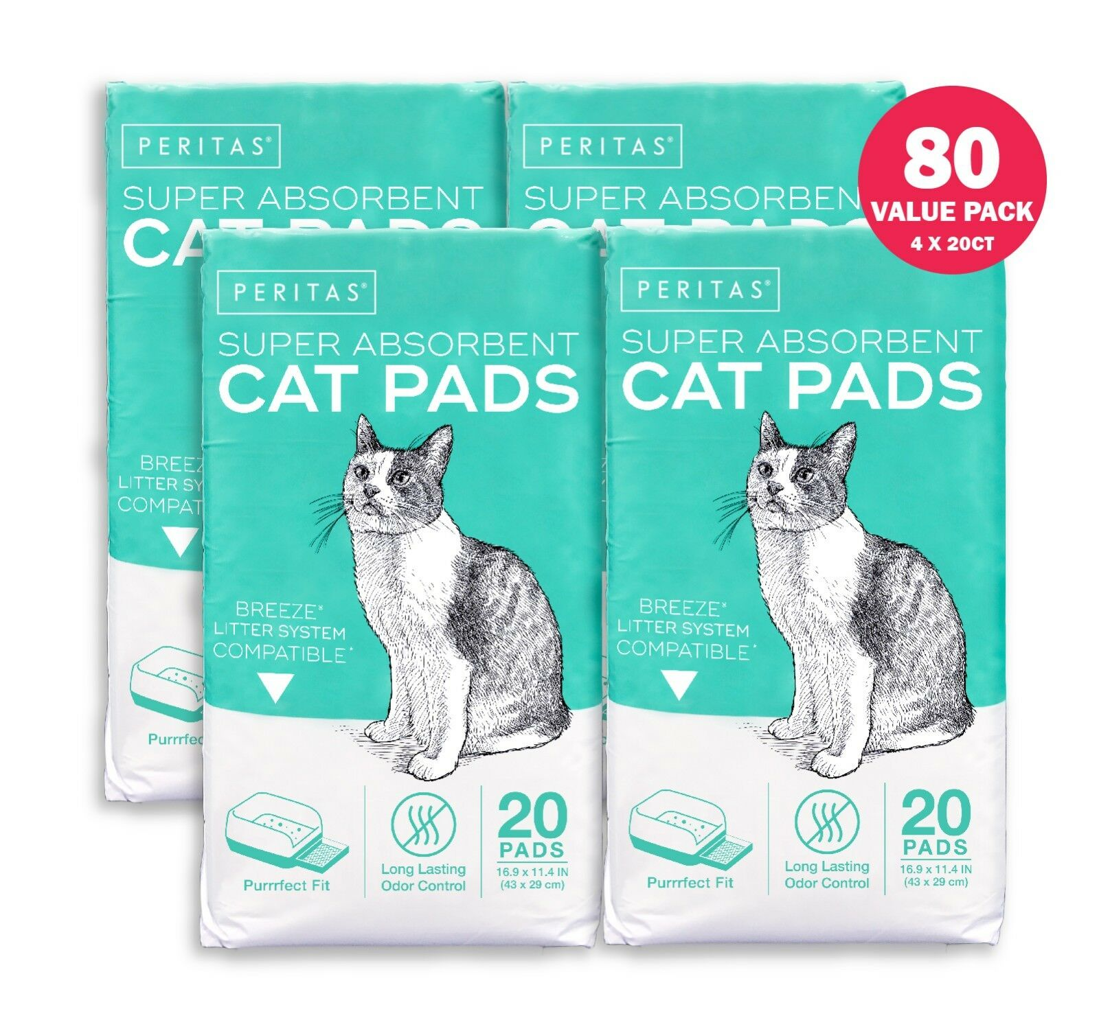 80ct Peritas Cat Litter Pads for Breeze Tidy Cats Litter System 16.9x11