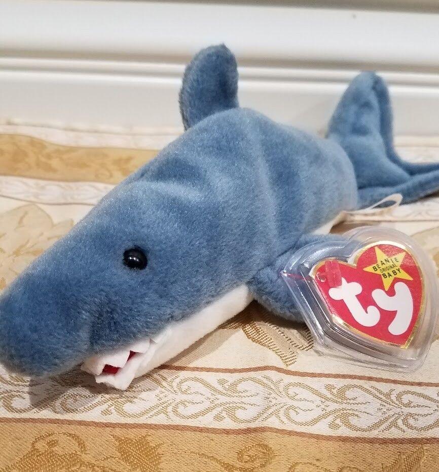 RARE Ty Beanie Baby w ERRORS -  Crunch  Shark - MWNMT & MQ & Tag Predector