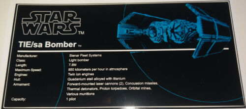 Star Wars Sticker for LEGO® MOC Tie Bomber Custom not 4479