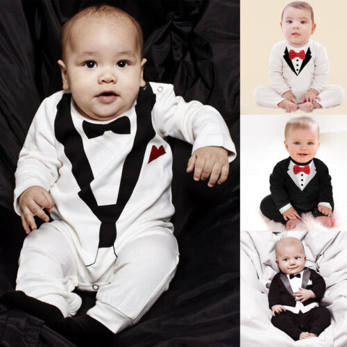 Baby Jungen Einteiler Strampler Spielanzug Festlich Anzug Gentleman Outfit Set
