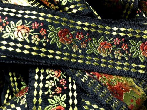 "VINTAGE EMBROIDERED JACQUARD Ribbon Brocade 1 3//8/"" FRANCE Rayon SILK 1yd"
