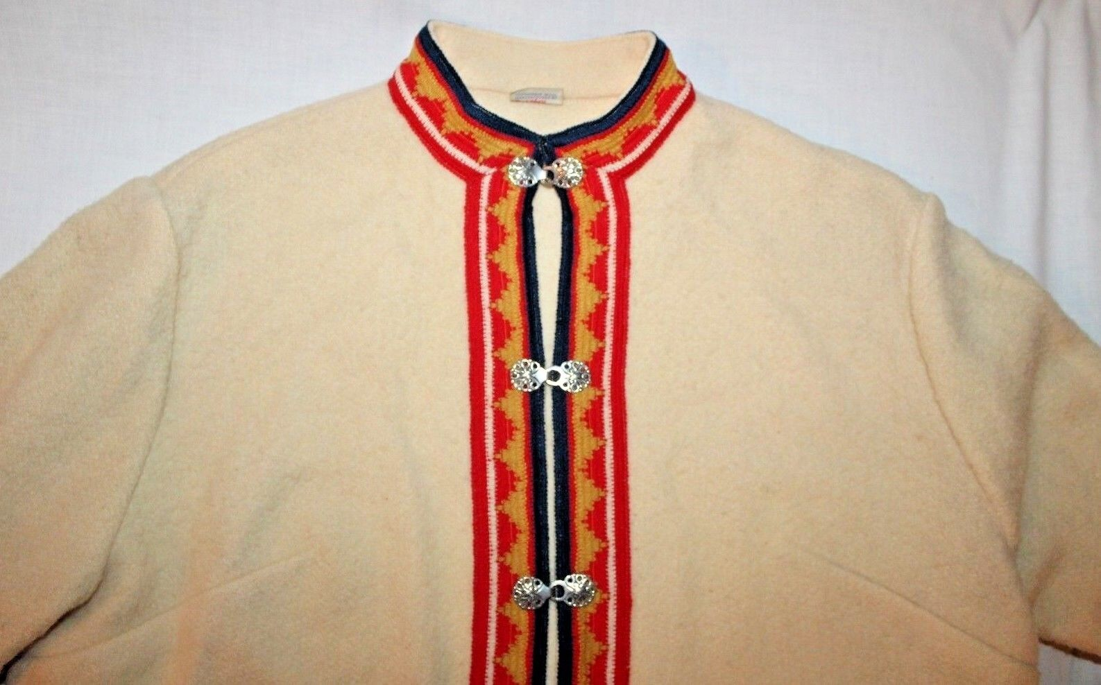 Evelrofoss Wool Button Up Cardigan With Nordic Pattern - size 44 made in Norway