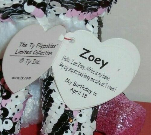 """Ty FLIPPABLES ~ ZOEY the Zebra Changing Sequins 6/"""" Beanie Boos 2019 NEW ~IN HAND"""