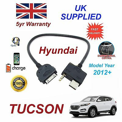 Genossenschaft For Hyundai Tucson Iphone 3gs 4 4s Ipod Usb & 3.5mm Aux Cable My 2012+
