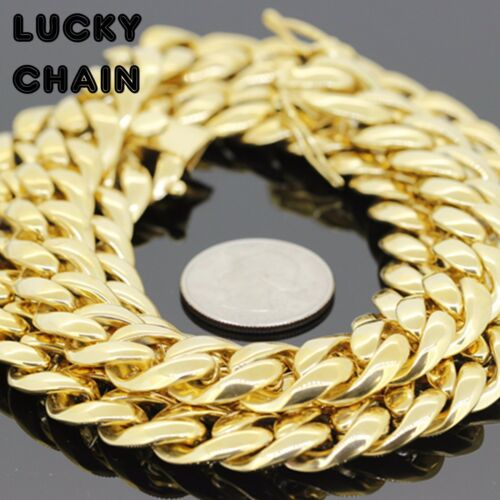 """30/""""STAINLESS STEEL GOLD MIAMI CUBAN LINK CHAIN NECKLACE 14mm230g"""