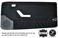 BLACK STITCH 2X FRONT FULL DOOR CARD LEATHER COVERS FITS FORD MUSTANG 1987-1993
