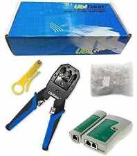 UbiGear Network Cable Tester + Crimper + 100 CAT5e RJ45 Connector Plug Tool Kits
