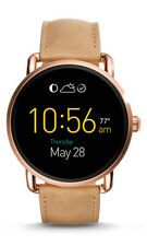 Fossil Womens Black Dial Beige Leather Strap Smart Watch W/ Touch Screen FTW2102