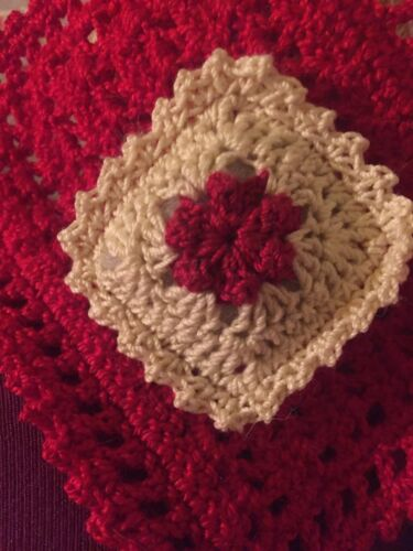 2 Matching CROCHET MINIATURE DOLLHOUSE  PILLOWS Red Rose And Cream