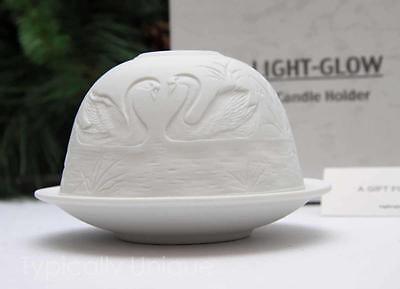 SWAN TEALIGHT CANDLE HOLDER WHITE PORCELAIN LITHOPHANE  BOXED LIGHT-GLOW