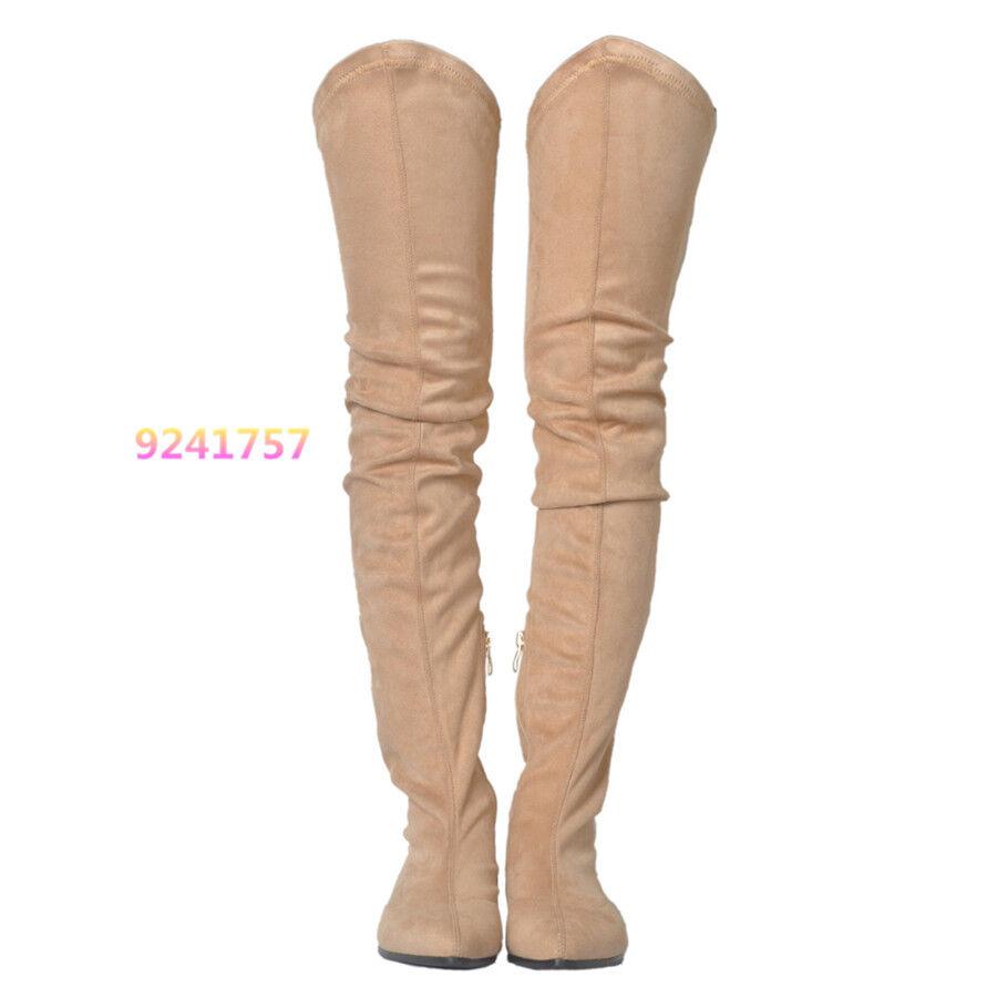 Flachabsatz Langschaft Damenschuhe Stiefel Stiefel Stiefel Langschaft Leder Overknee Gr.35-47 99d809