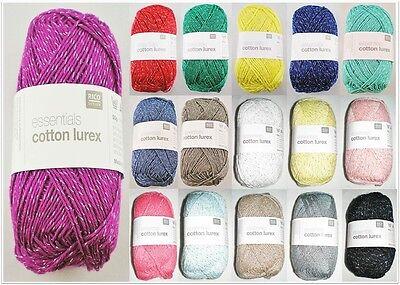 50g Essentials Cotton Lurex Glitzergarn Baumwolle Wolle Garn zum Stricken Häkeln