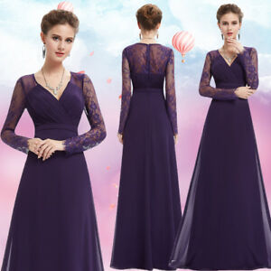 83d2cd998e3 UK Womens Purple Lace Long Sleeve V Neck Formal Evening Prom Party ...