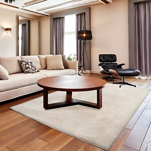Kurzflor Soft Touch Teppich Wohnzimmer in Creme Kuschelig unifarbe ...