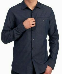 Kenneth-Cole-NY-Mens-L-S-Shirt-Size-XXL-Indigo-Blue-Chambray-Woven-NWT