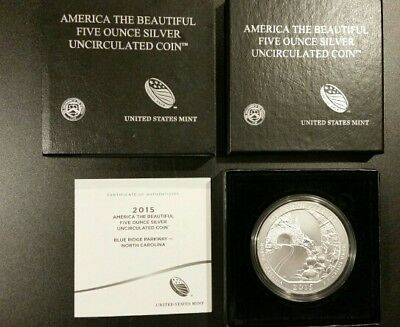ATB SPECIMEN SILVER NO COINS US Mint Box /& COA for 2015-P Blue Ridge Pkwy 5 Oz
