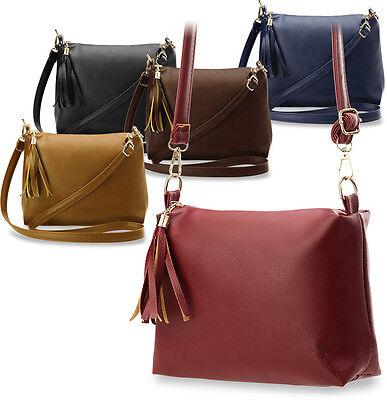 elegante formschöne Damentasche Schultertasche mit Fransen - Anhänger