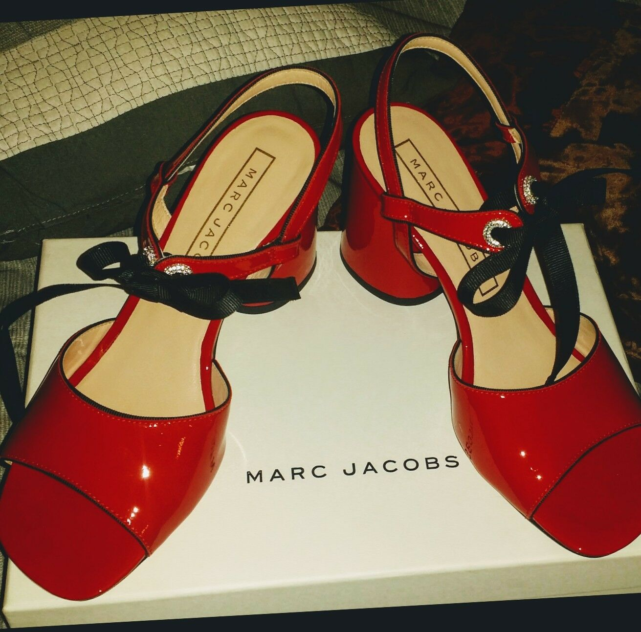 Marc Jacobs Wilde Red Patent Patent Patent Sold  Out Sandals size 6.5 NIB100% AUTHENTIC ebf97f