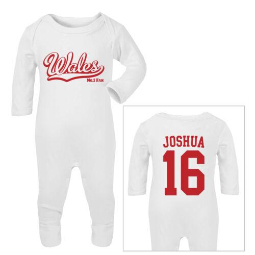 WALES Football Personalised Baby SleepSuit