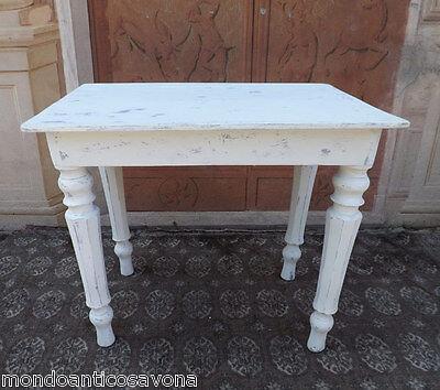 Tavolo Bianco Decape.Tavolo Tavolino Epoca 800 Laccato Shabby Chic Bianco Decape Ebay
