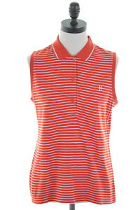 CONTE-OF-FLORENCE-Womens-Polo-Shirt-Sleeveless-Size-14-Large-Red-White-Stripes