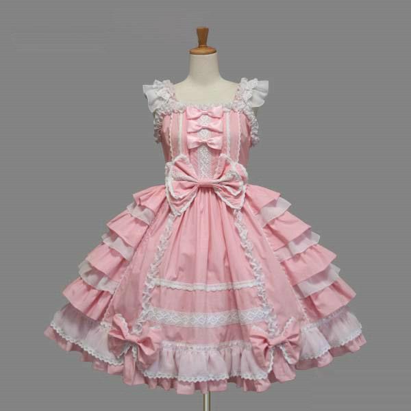 Damen süße Lolita Cosplay Kostüm Spitze Gothic Dolly Kleid Prom Party Kleider