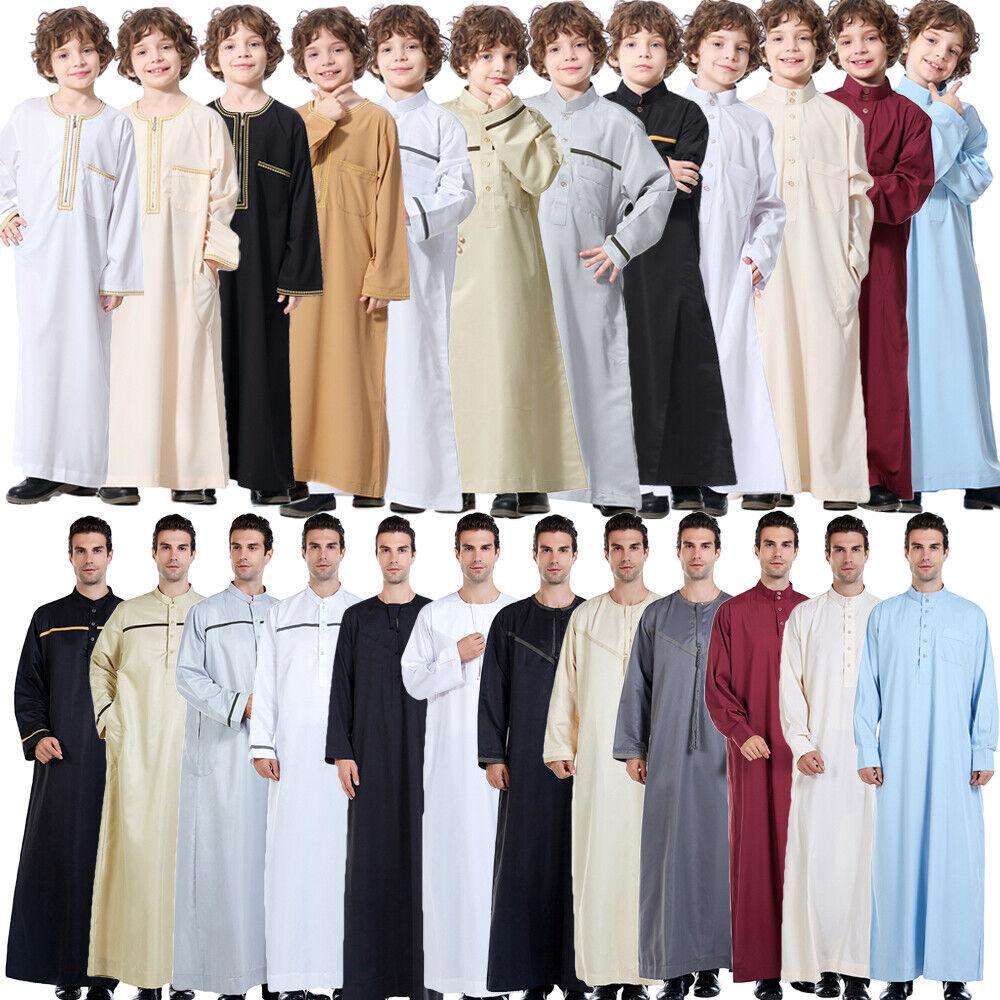 Islamic Saudi Mens&Boy Thobe Jubba Daffah Dishdasha Thawb Thoub Muslim Robe Arab