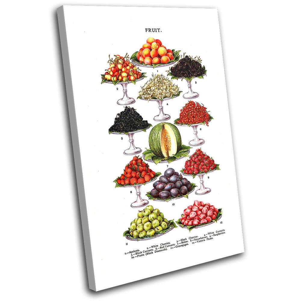 Fruit Natural Vintage Food Kitchen SINGLE TELA parete arte foto stampa