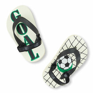 40db3d867 Details about The Children's Place Boy's White Soccer Goal Toddler Flip  Flops SIZE 4/5
