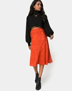 MOTEL ROCKS Saika Midi Skirt in Satin Rose Lime XS mr26