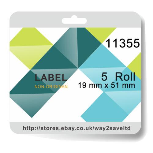 5 Roll 11355 Compatible Dymo Sieko Address 500 Labels per Roll 19mm x 51mm