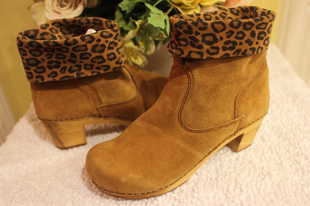 Sanita Sardia Women's Wood Ankle Booties Boots Leopard SIZE 39 US 9 (600