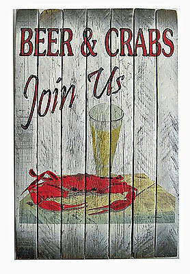 WALL ART - JOIN US FOR BEER & CRABS SIGN - DECORATIVE WOODEN SIGN