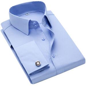 Men-039-s-French-Cuff-Dress-Shirts-Luxury-Formal-Slim-Casual-Shirts-Business-TAT6433