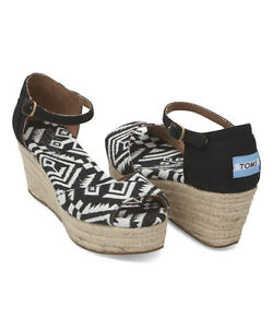 toms shoes black and white woven platform wedges style