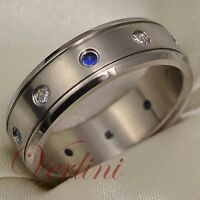 Men's Titanium Ring Wedding Band Blue Sapphire & Diamond Simulated Size 6-13