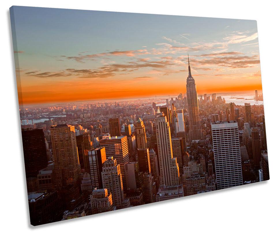New York City Orange Sunset SINGLE CANVAS WALL ART Print Picture