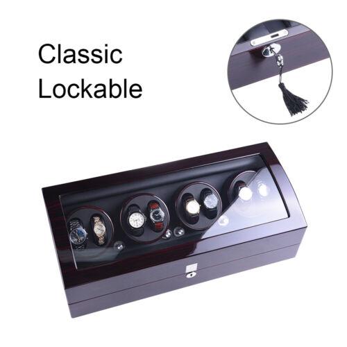 Luxus Uhrenbeweger Klavier Holz Vitrine Kunstleder Lagerung