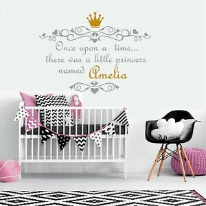 Once Upon A Time Wall Stickers For Girl Princess Personalised Name