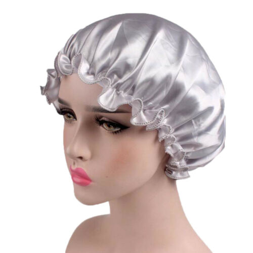 Silk Night Sleep Cap Hair Bonnet Hat Head Cover Satin Wide Adjust Elastic Band #