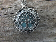 Dark Blue Tree of Life Silver Pendant Necklace Glow in the dark  Spirituality