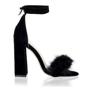 Detalles de Mujer Tira en Tobillo Piel Tacón Bloque Sandalias de Noche Zapatos Talla 3 8